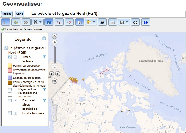 Screenshot image of the Northern Oil and Gas Geoviewer