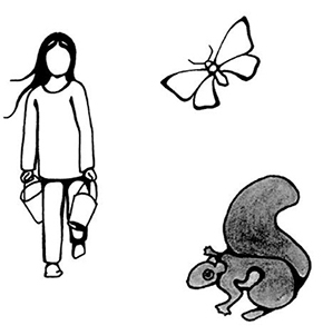 Granddaughter, butterfly and squirrel