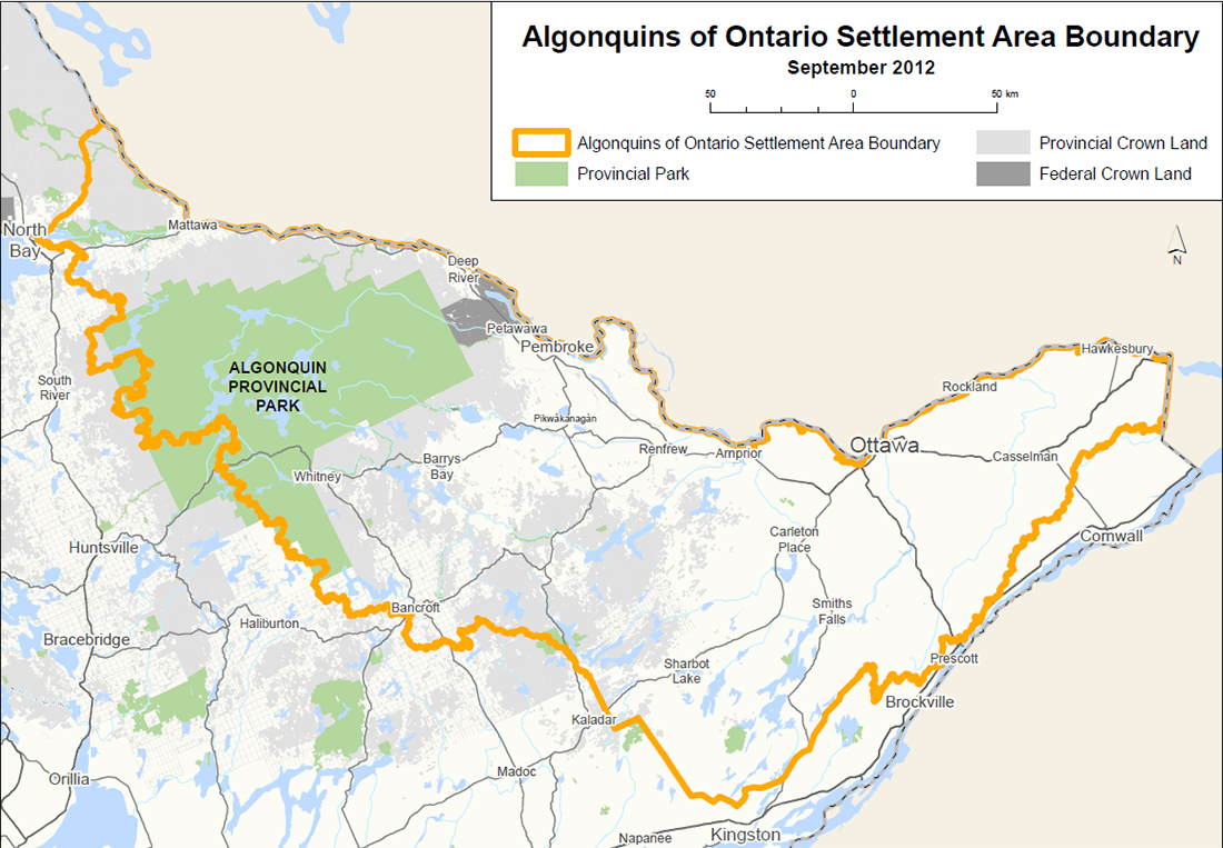 Map for the Algonquins of Ontario Land Claim