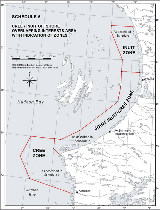 "Schedule 5 - Map ""Cree / Inuit Offshore Overlapping Interests Area with Indication of Zones"""
