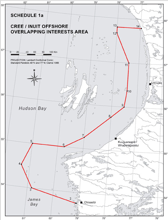 "Schedule 1a - Map ""Cree/Inuit Offshore Overlapping Interests Area"""