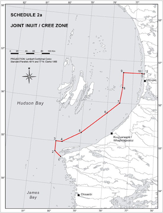 "Schedule 2a - Map ""Joint Inuit / Cree Zone"""